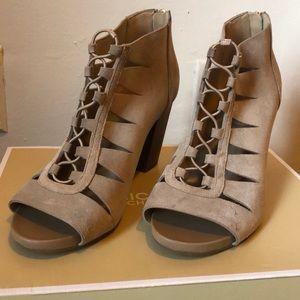Tan sandal booties